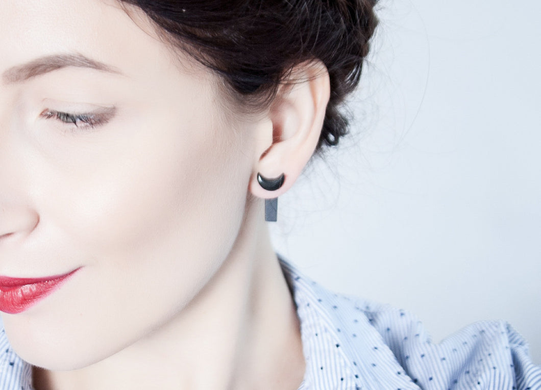 Double Sided Porcelain Earrings - Black Moon