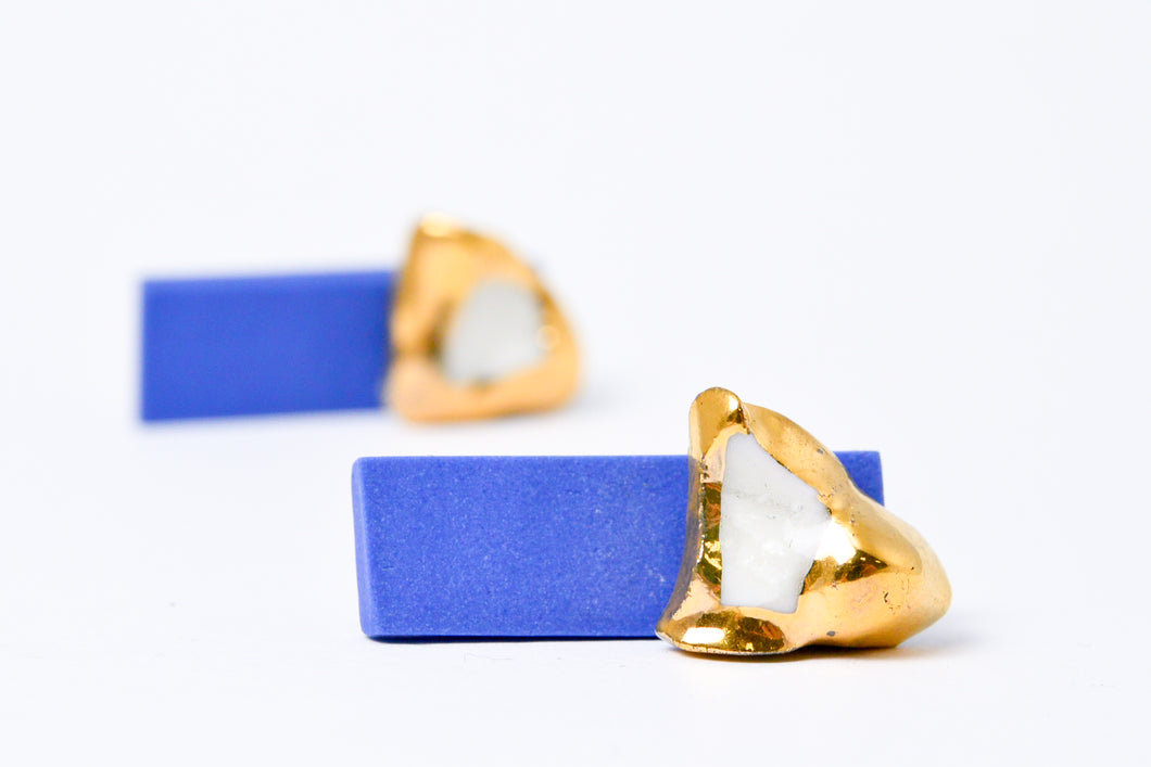 Double sided earrings, gold earrings front and blue earrings,  porcelain earrings, porcelain jewelry, ceramic earrings, ceramic jewelry, porceliano auskarai, porcelianiniai auskarai, porceliano papuošalai, porcelianiniai papuosalai, FreakyFoxx, ceramic jewelry, ceramic earrings, keramikiniai papuosalai, keramikiniai auskarai