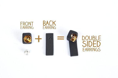 Gold Filled Double Sided Earrings - Gold Filled Square