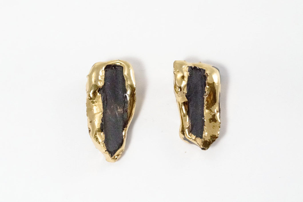 OOAK Porcelain Jewelry - Contemporary Black Earrings With Gold