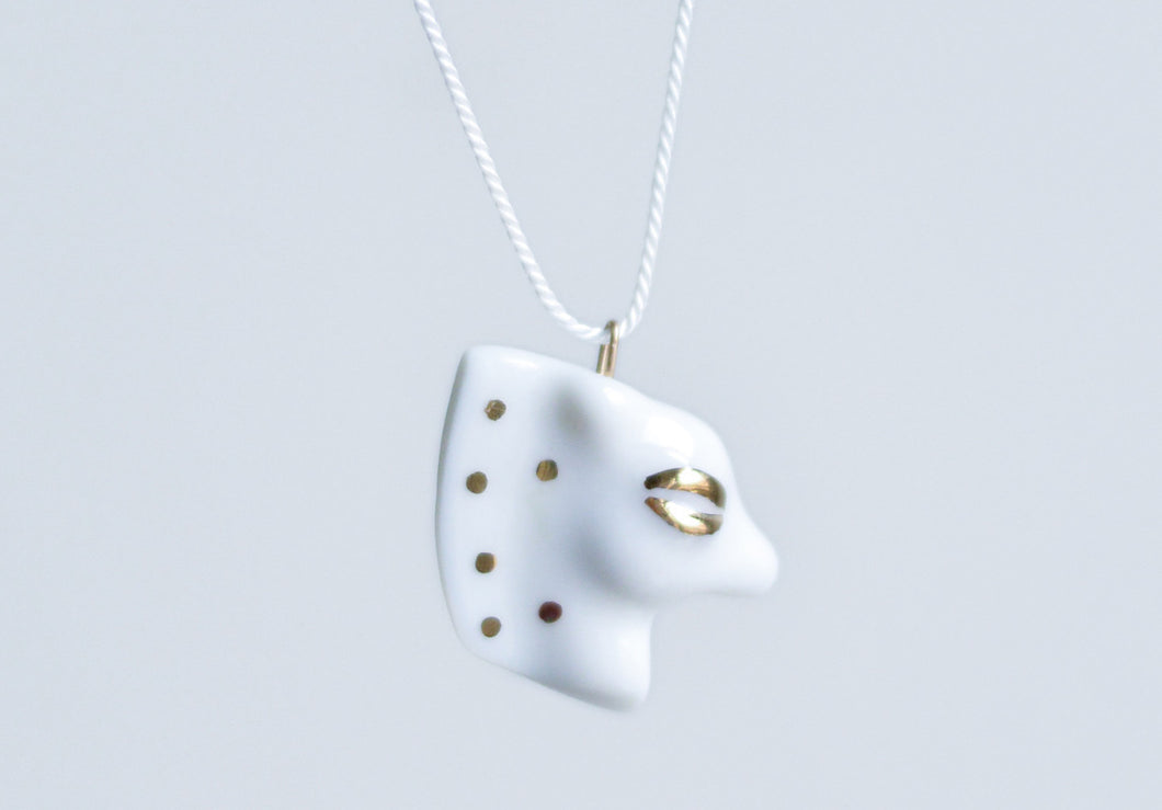 Small Porcelain Pendant - White Horse