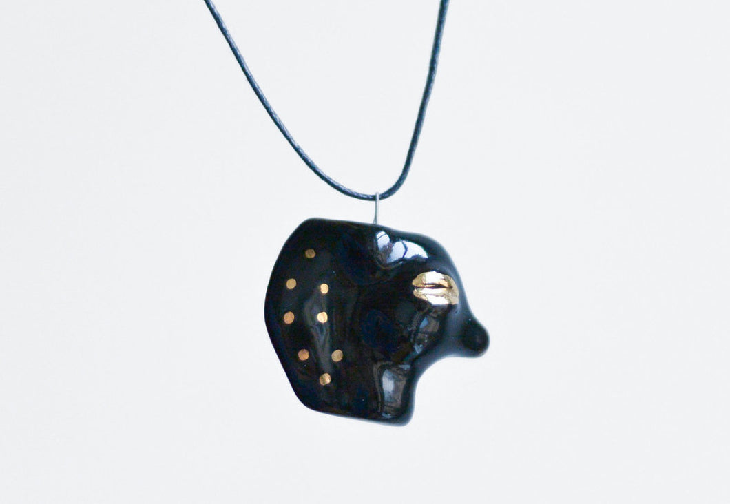 Small Porcelain Pendant - Black Horse