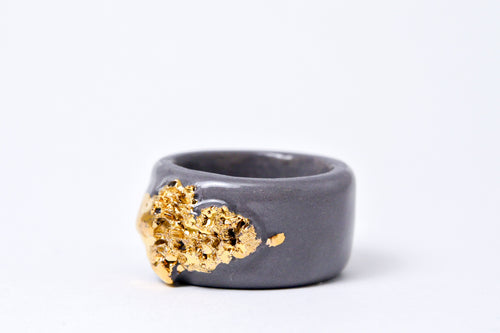 Handmade ceramic ring with gold