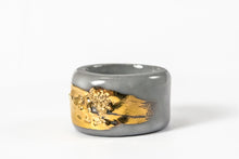 Porcelain Jewelry - Gold Plated Gray Porcelain Ring