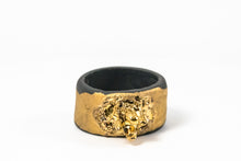 OOAK Porcelain Jewelry - Gold Plated Black Porcelain Ring