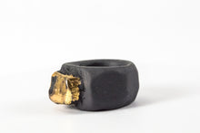 OOAK Ceramic Jewelry - Gold Plated Black Porcelain Ring
