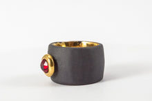 OOAK Ceramic Jewelry - Gold Plated Black Porcelain Ring With Swarovski
