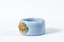 Porcelain Jewelry - Gold Plated Sky Blue Porcelain Ring - Porceliano ziedas - porcelianiniai ziedai - porceliano papuosalai - keramikinis ziedas - keramikiniai papuosalai - pilkas ziedas - ranku darbo papuosalai - ranku darbo ziedas - фарфоровые украшения, фарфоровое кольцо, bague en porcelaine, bijoux en porcelaine, gioielli di porcellana, anello di porcellana, porcelāna rotaslietas, ceramic jewellery