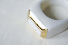 Square Gold Plated Porcelain Ring - Gold Framed