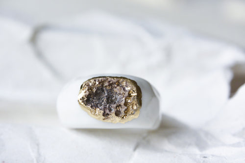Gold Plated Porous Porcelain Ring