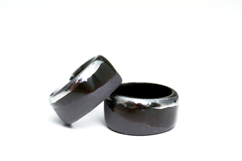 Black Porcelain Ring - Platinum Edge