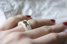 Gold Plated White Porcelain Band Ring - Moon Phases