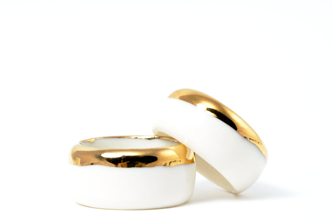 Ceramic Jewelry - Porcelain Ring Gold
