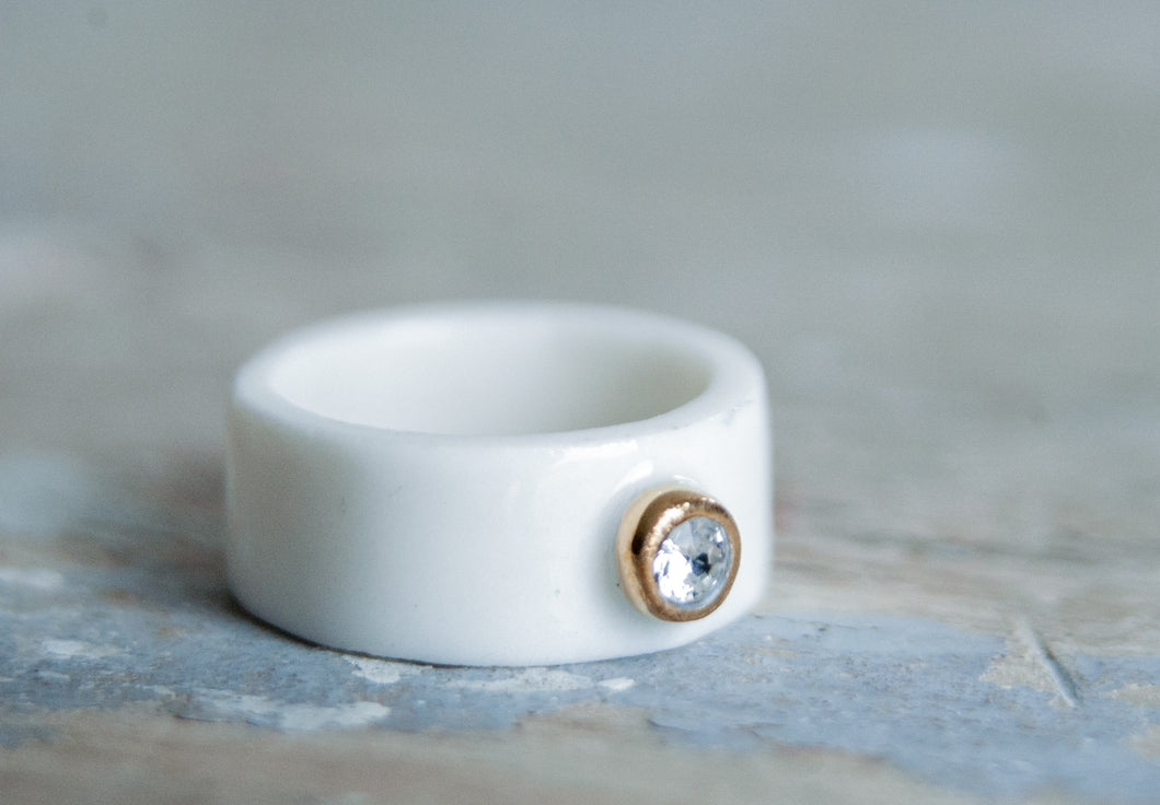 Gold Filled Porcelain Band Ring With Swarovski