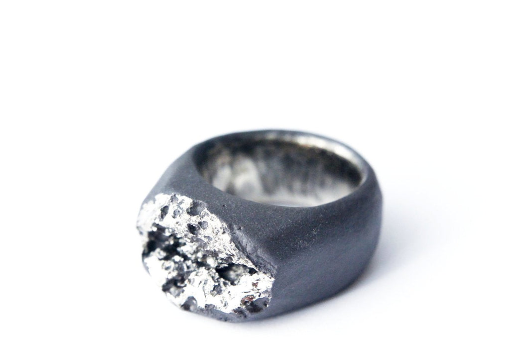 Platinum Plated Black Porcelain Ring  - Moon Surface