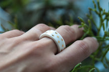 White Porcelain Ring Band - Gold Crosses