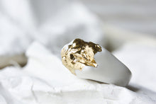 Gold Plated White Porcelain Ring - Cocktail Ring
