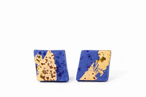 Rhombus Ceramic Earrings With Gold