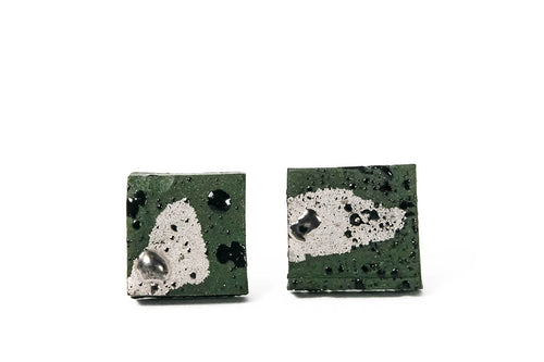 Handmade jewelry. Square Khaki Green Porcelain Earrings plated with platinum. Kvadratiniai chaki spalvos porceliano auskarai su sidabru. Pagaminta Lietuvoje