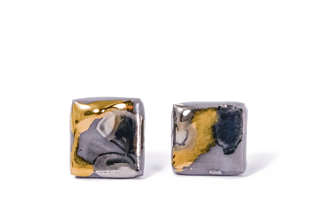 Square Marbled Porcelain Earrings With Gold And Platinum, kvadratiniai marmuriniai porceliano auskarai su auksu ir platina