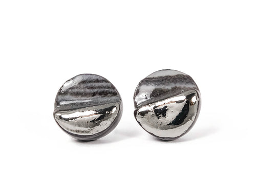 Marbled Ceramic Earrings With Platinum From Porcelain jewelry collection. Marmuriniai auskarai iš porceliano su sidabru iš keramikinių papuošalų kolekcijos