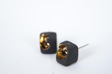 Black Square Earrings - Gold Inside