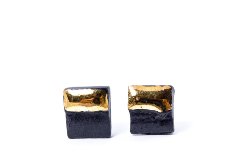 Earrings For Men - Black Square Earrings With Gold,  porcelain earrings, porcelain jewelry, ceramic earrings, ceramic jewelry, porceliano auskarai, porcelianiniai auskarai, porceliano papuošalai, porcelianiniai papuosalai, FreakyFoxx, ceramic jewelry, ceramic earrings, keramikiniai papuosalai, keramikiniai auskarai, mens earrings, earrings for men, stud earrings