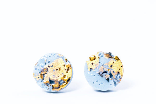 Sky blue porcelain earrings with gold inspired by colour of spring summer 2018,  porcelain earrings, porcelain jewelry, ceramic earrings, ceramic jewelry, porceliano auskarai, porcelianiniai auskarai, porceliano papuošalai, porcelianiniai papuosalai, FreakyFoxx, ceramic jewelry, ceramic earrings, keramikiniai papuosalai, keramikiniai auskarai, mens earrings, earrings for men, stud earrings