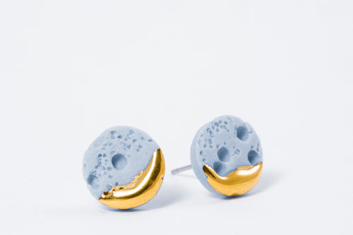 Sky blue porcelain earrings with gold inspired by colour of spring summer 2018