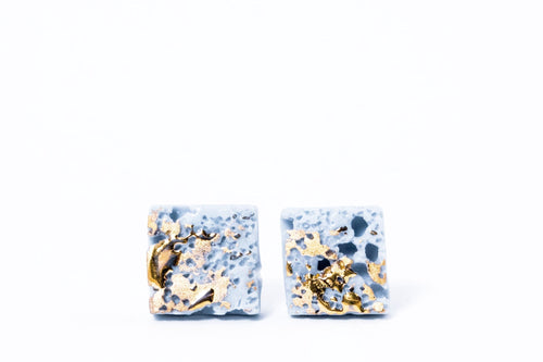 Pastel blue earrings from porcelain. Porcelain jewelry collection