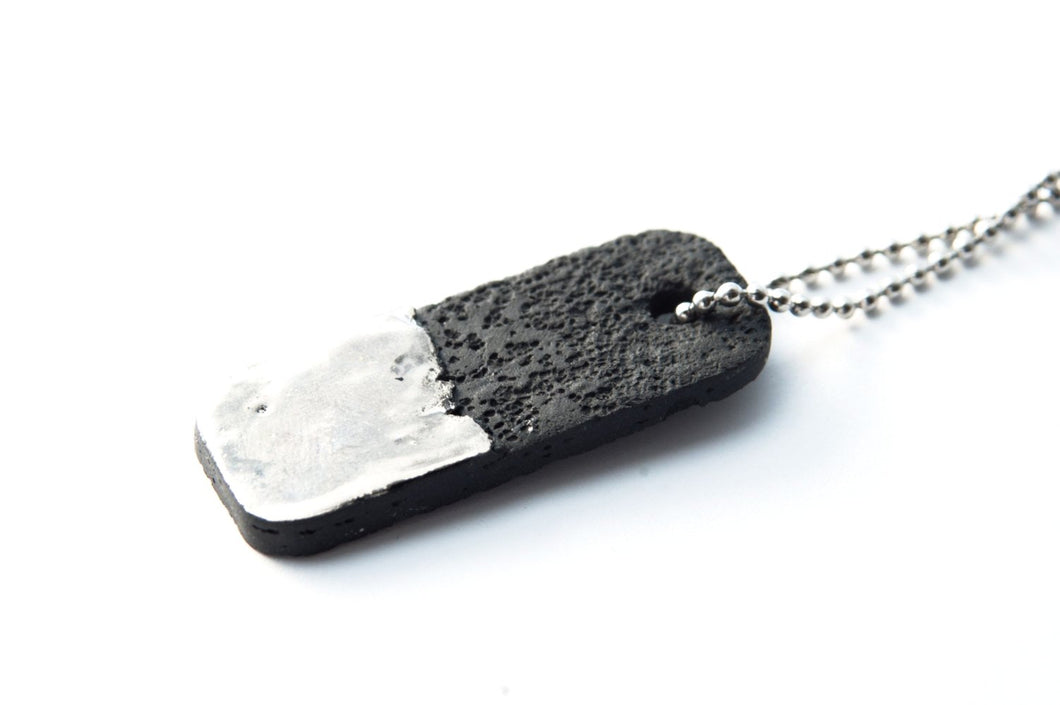 Unisex Bar Pendant - Platinum Plated