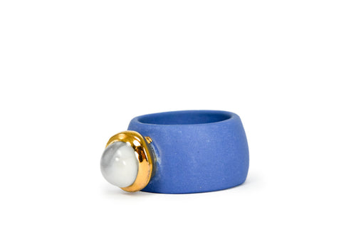 Blue Porcelain Ring With Marble Ball Plated With Gold
