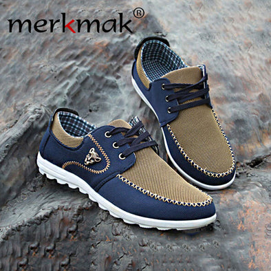 Merkmak Summer Casual Canvas Men Shoes Breathable Soft Driving Male Casual Shoes Men Flats Fashion Students Big Size 46 Footwear - Roozoda