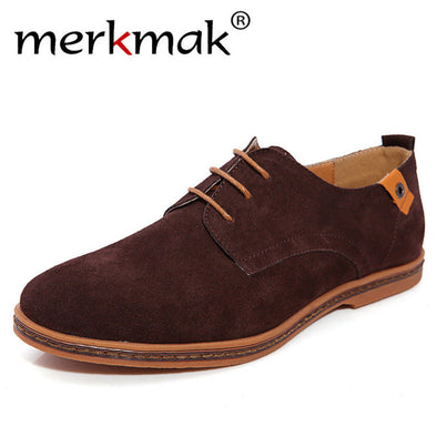 Merkmak Fashion Men Shoes Suede Leather Casual Lace-up Men's Flats Shoes for Man Rubber Outsole Driving Footwear Drop Ship - Roozoda
