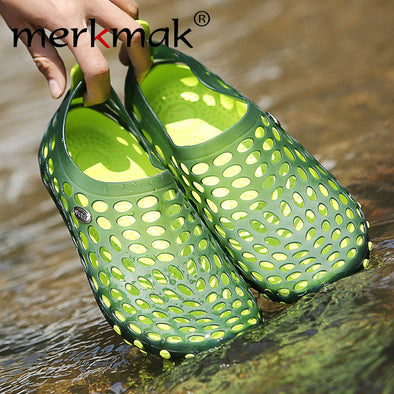 Merkmak Mens Sandals Breathable Summer Soft Flats Driving Chaussure Homme Fretwork Water Fishing Shoes Zapatos Masculino - Roozoda