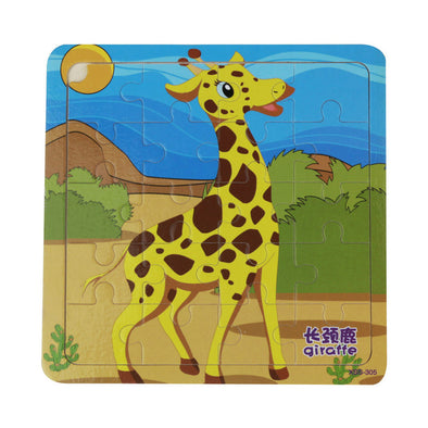 20PCS Wooden Jigsaw Puzzle Toys Cartoon Animals Jigsaw Toy Children Educational Toys for Kids Learning 3D Wooden Jigsaw Puzzle - Roozoda