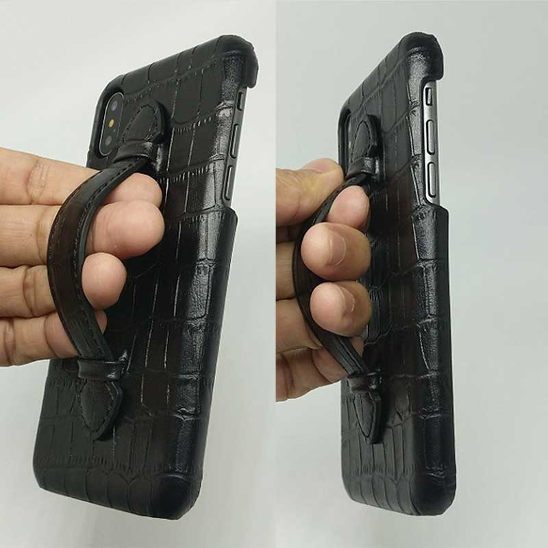 Picture of Alligator skin case with a hand strap for iPhone X