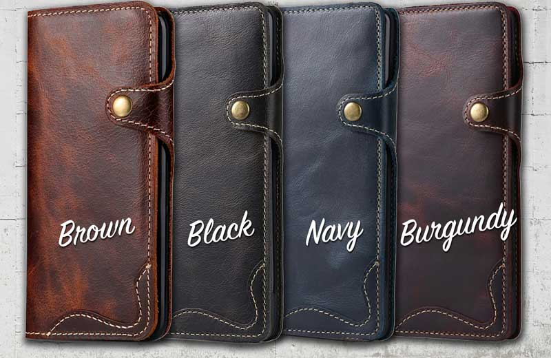 Leather cell phone wallet case for Samsung Galaxy S9 Plus