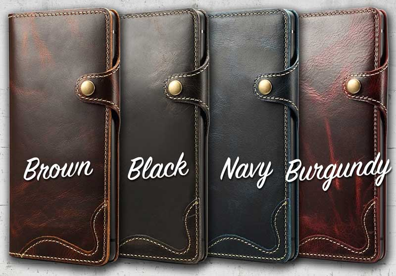 Picture of Leather cell phone wallet case for Samsung Galaxy Note9 in Maroon Red All Black Tanned