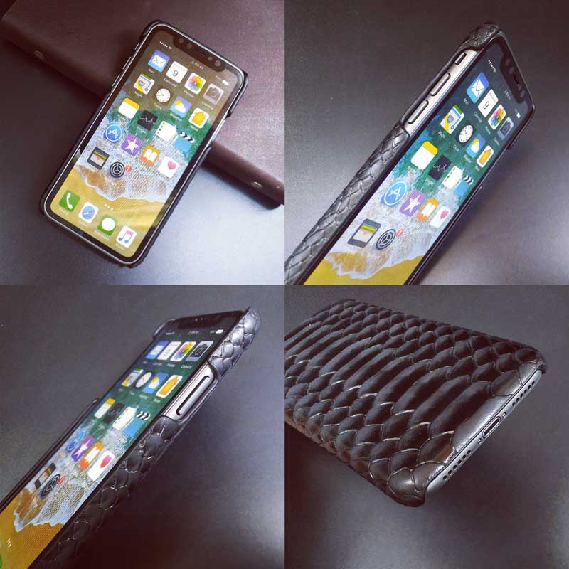 Picture of Cow Hide Snake Cobra Case Holder for Apple iPhone X and Samsung Galaxy mobile phone cellular