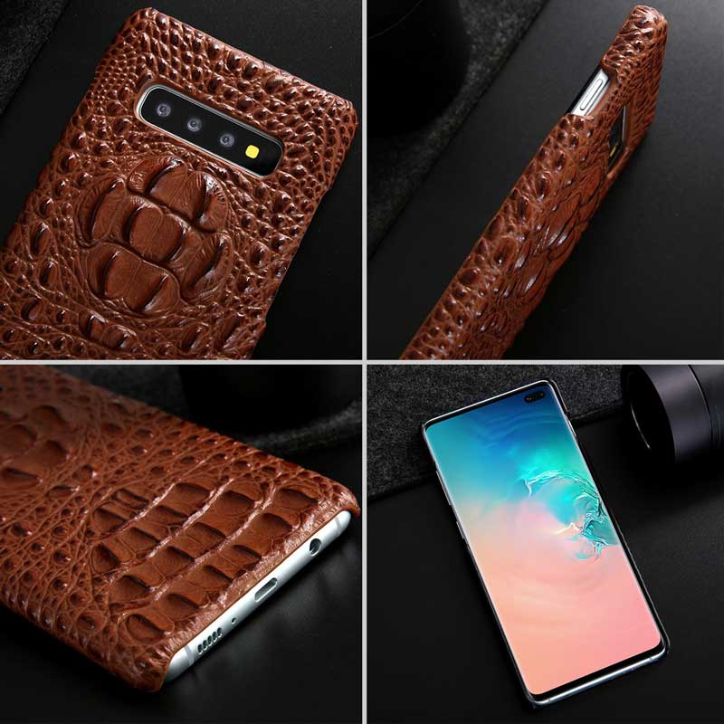 Picture of crocodile-patterned cell phone cover for Galaxy S10 and S10-plus