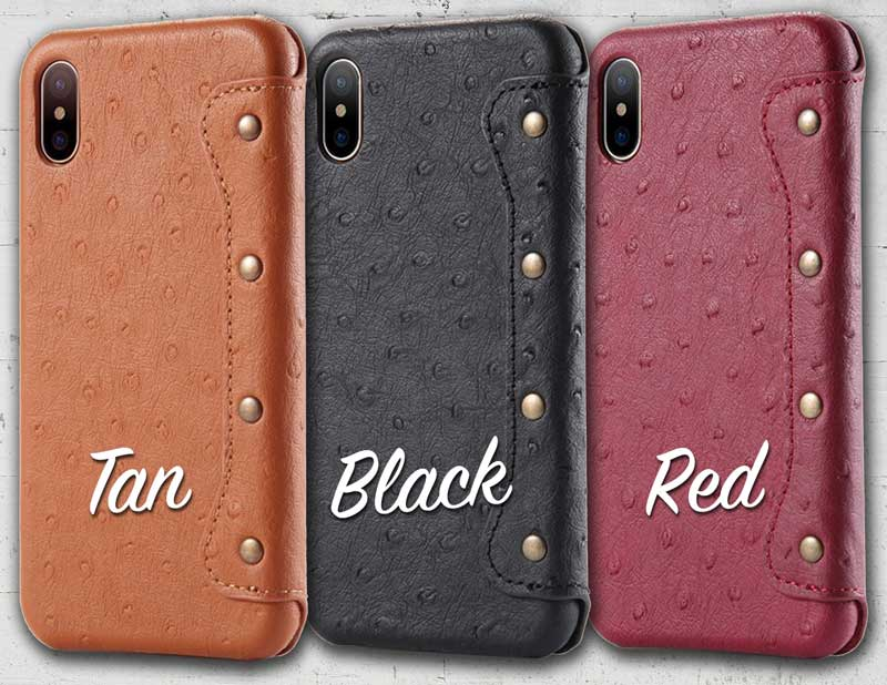 Picture of Ostrich Flip Leather cases for Apple iPhone X iPhoneX 10 in Maroon Red All Black Tanned Brown Dark Blue Navy