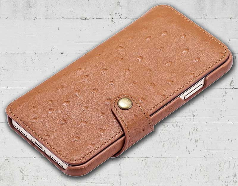 Picture of Leather cell phone Ostrich wallet for iPhone X