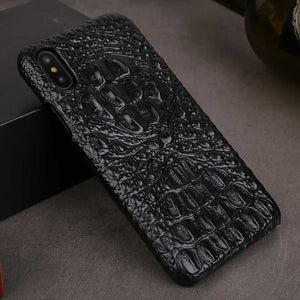 Black alligator skin phone case