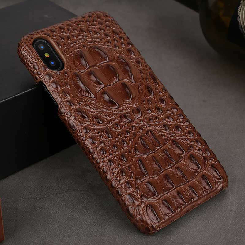 watch c3941 87471 Alligator case for iPhone X, Cowhide Leather