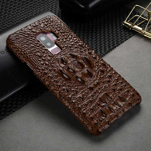 Brown Crocodile Leather case for Galaxy S9