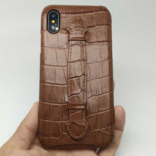 Load image into Gallery viewer, Crocodile Strap-Case for iPhone X - Cowhide Leather