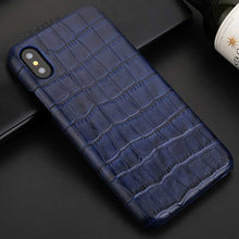 navy crocodile phone case