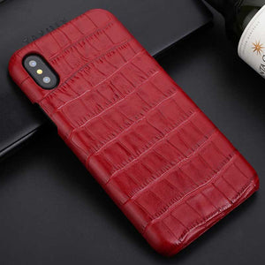 red croc leather iphone x case
