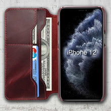 Load image into Gallery viewer, iphone 12 mini red leather holder